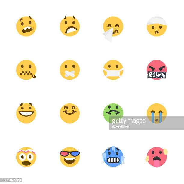 cute colorful emoticons set - illness stock illustrations
