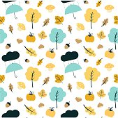 cute colorful fall autumn mix seamless vector pattern background illustration