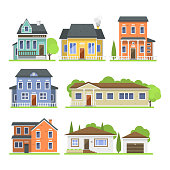 Cute colorful flat style house village symbol real estate cottage and home design residential colorful building construction vector illustration