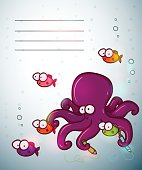 Cute colorful invitation template with cartoon fish family.