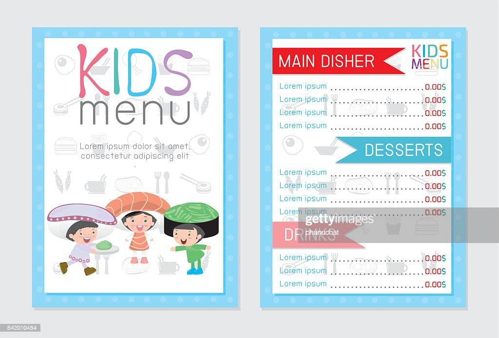 Cute colorful kids meal menu design, Cute colorful kids menu
