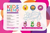 Cute colorful kids meal menu placemat with circle background