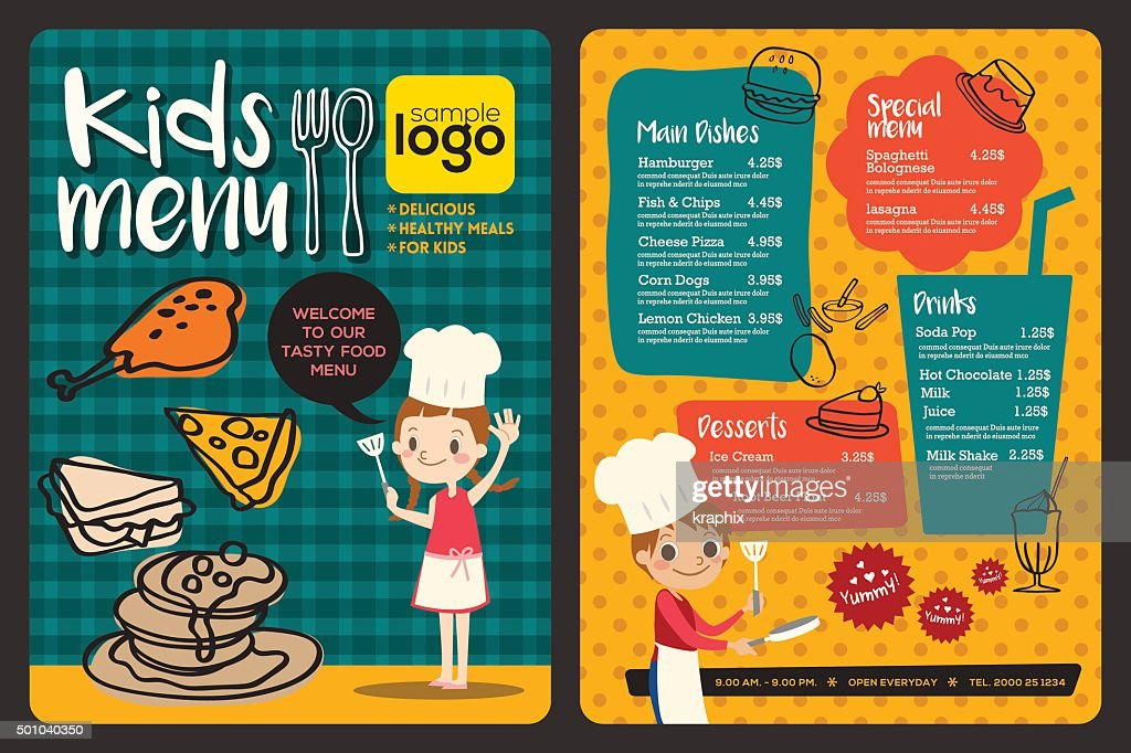 ... Cute Colorful Kids Meal Menu Template ...  Kids Menu Templates