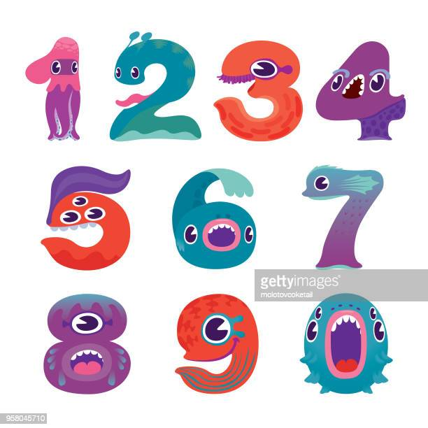 cute colorful monster number characters - monster fictional character stock illustrations