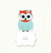 Cute colorful owl sitting on white sign with text Hello