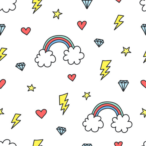 Cute colorful seamless pattern of hand drawn doodle elements on white background.