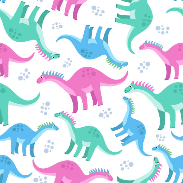 Cute Colorful Seamless Pattern With Dinosaurs On White Background. Bright Background For Kids. Wall Art
