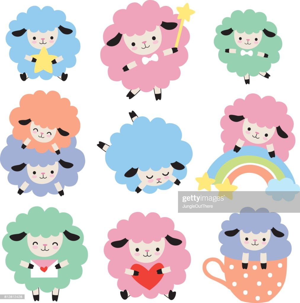 Cute Colorful Sheep Vector Set