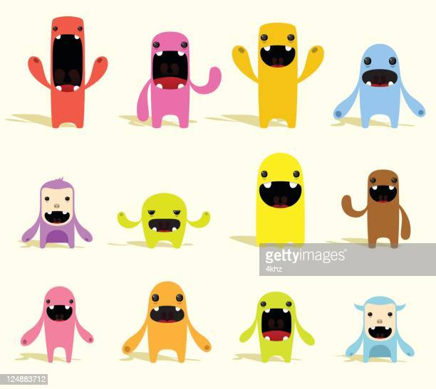 cute colorful vector characters with expressions - monster fictional character stock illustrations