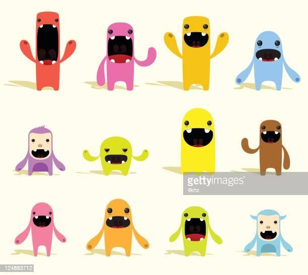 ilustraciones, imágenes clip art, dibujos animados e iconos de stock de linda colorido vector de caracteres con expresiones - monstruo