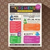 Cute colorful vibrant kids menu template in newspaper style
