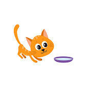 Cute comic style red cat and bowl of milk