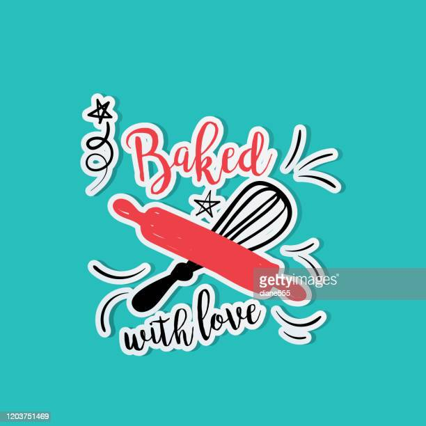 cute cooking label sticker - baked stock illustrations