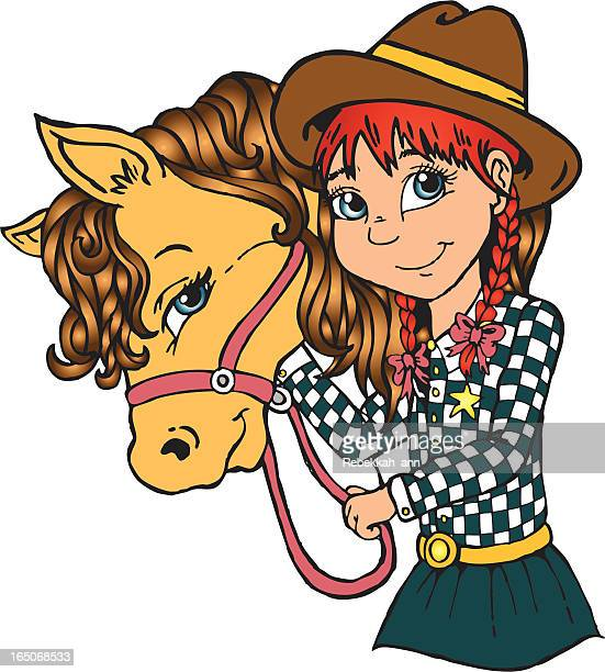 cute country cowgirl - pony stock illustrations, clip art, cartoons, & icons