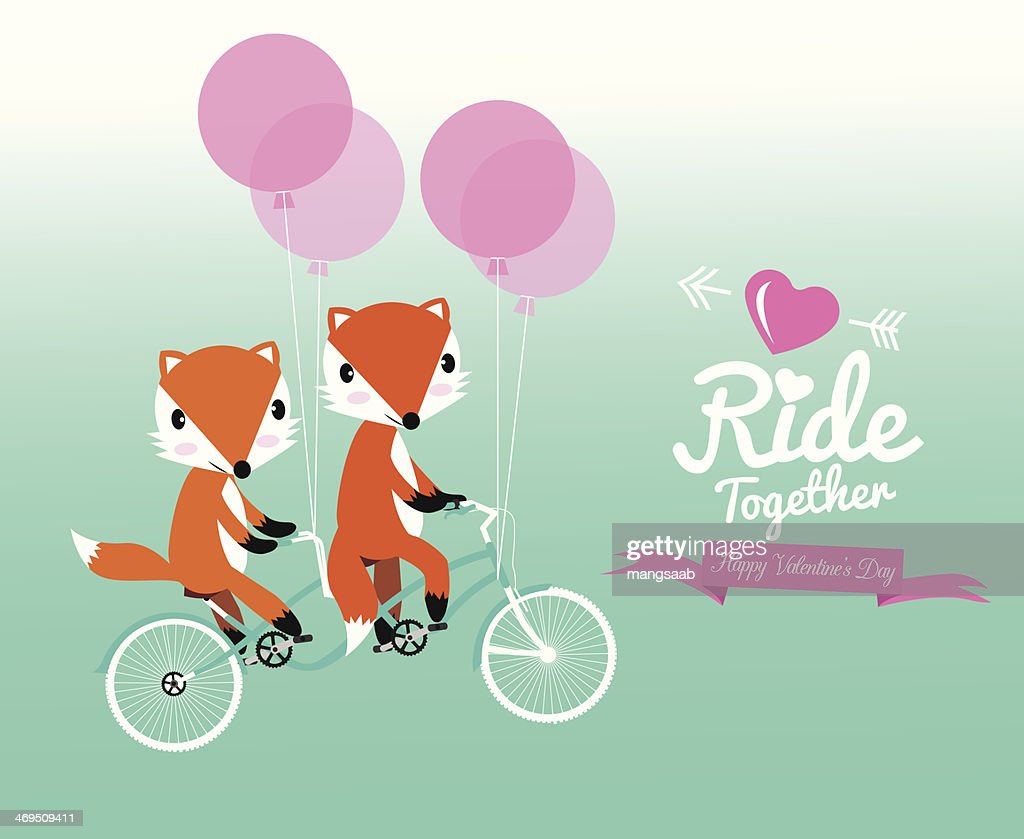 Cute couple fox ride tandem bicycle.