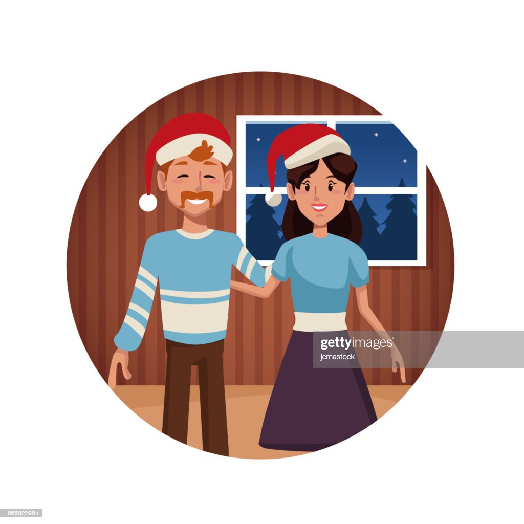 cute couple in christmas cartoon vector art
