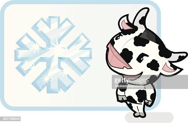 cute cow with icecrystallsign (frozen dairy products). - frozen yogurt stock illustrations, clip art, cartoons, & icons