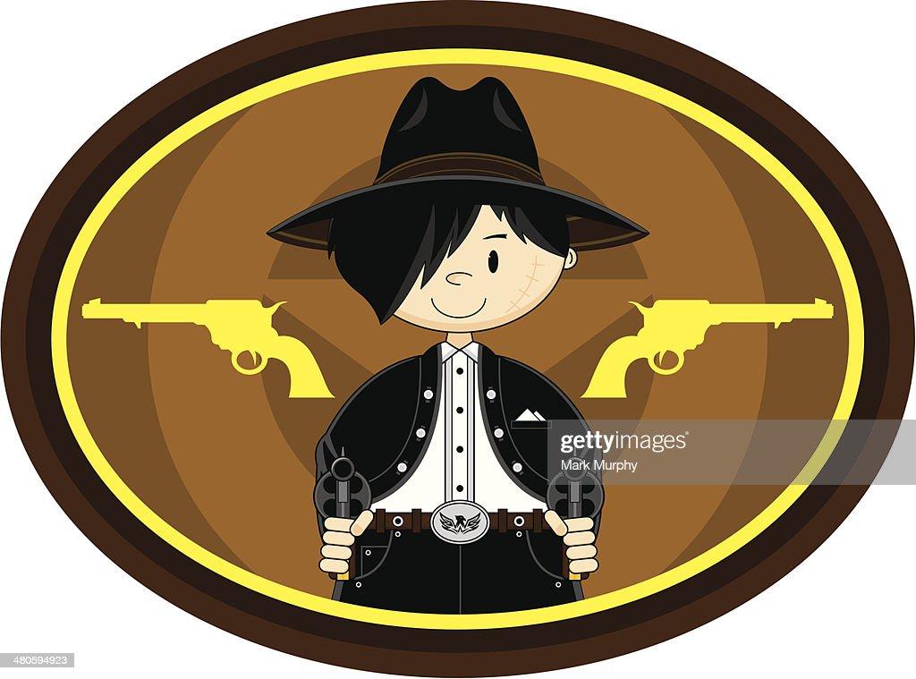Cute Cowboy with Pistols : Vector Art