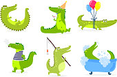 Cute crocodile character vector