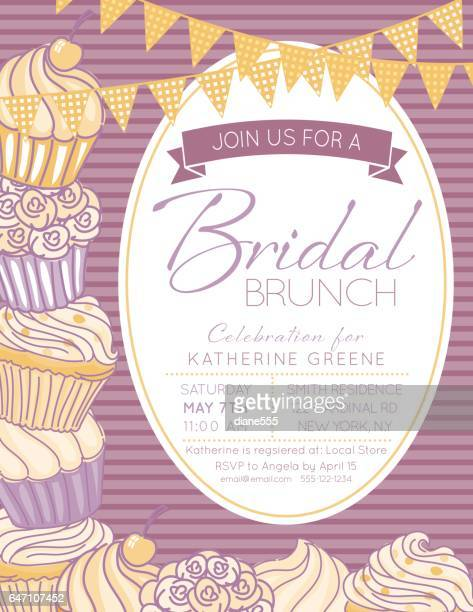 Cute Cupcake Frame With A Bridal Shower Invitation Template
