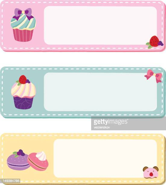 cute cupcake macaroon message banner - macaroon stock illustrations, clip art, cartoons, & icons