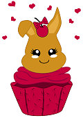 cute cupcake with cherries and bunny in kawaii style.