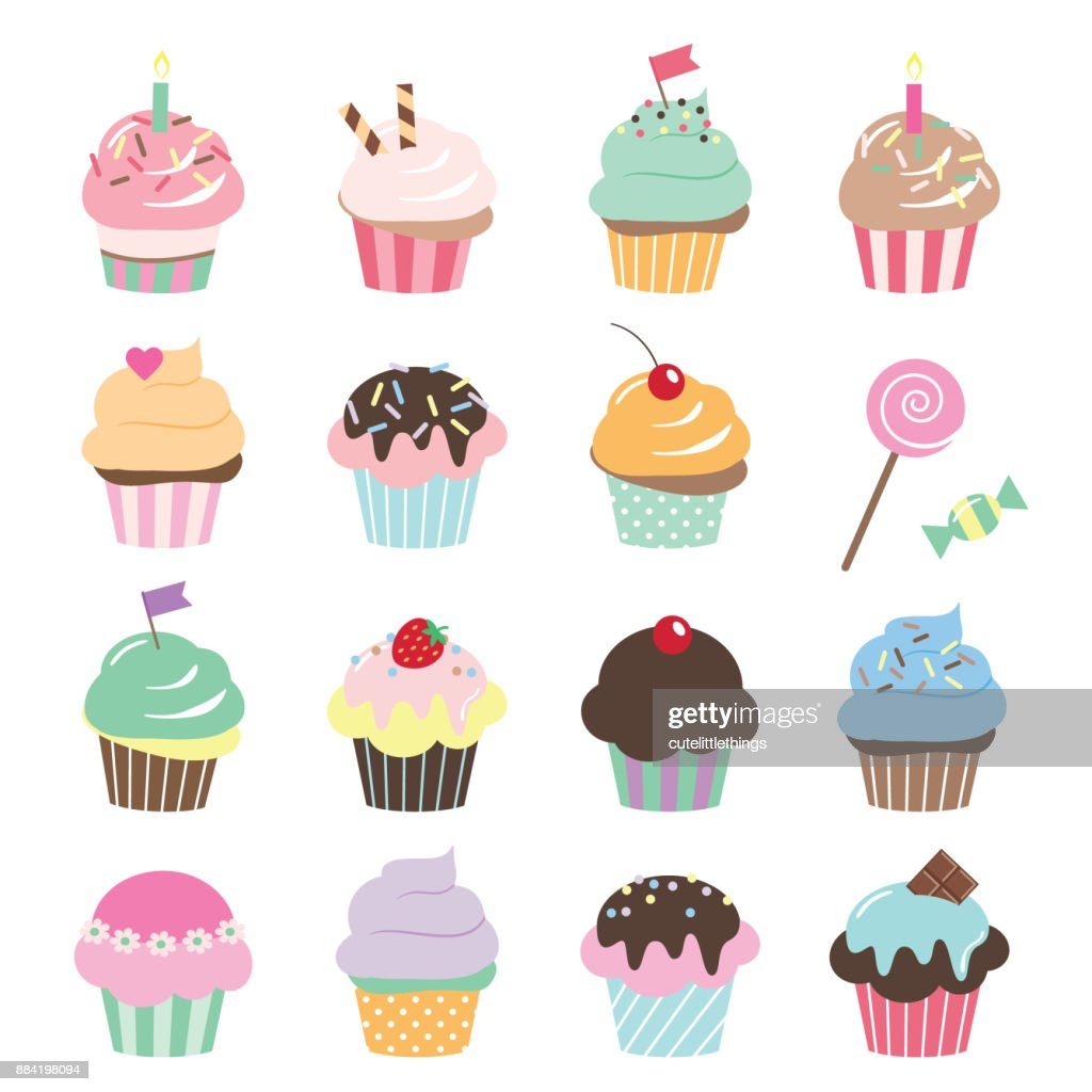 Cute cupcakes set isolated on white.