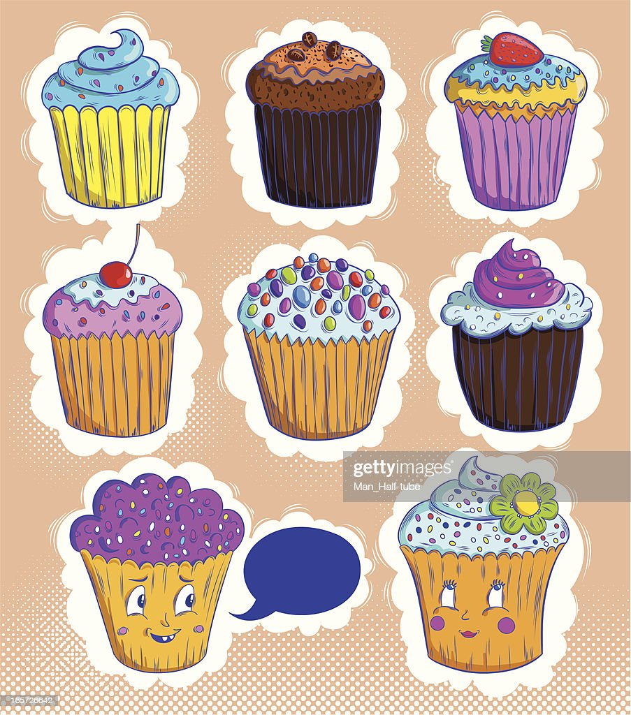 Cute Cupcakes Vector Art Getty Images
