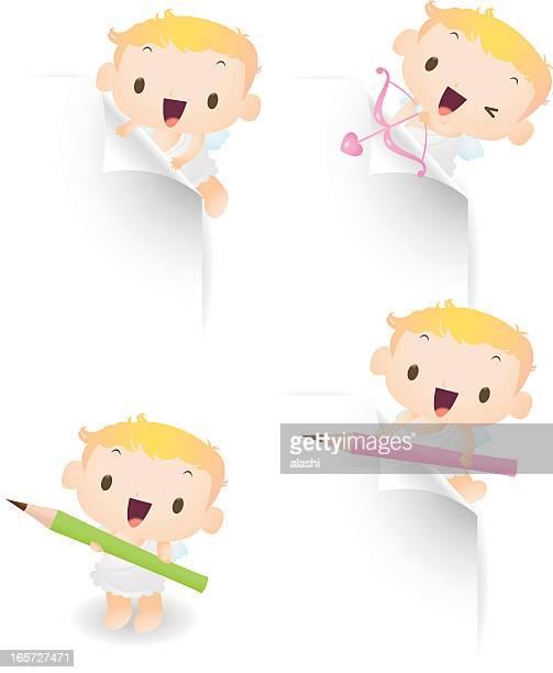 illustrations, cliparts, dessins animés et icônes de mignon cupidon utiliser des crayons, papier flèche pour montrer quelque chose - cupidon humour