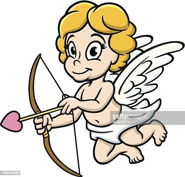 illustrations, cliparts, dessins animés et icônes de adorable avec arc et flèche de cupidon - cupidon and saint valentin
