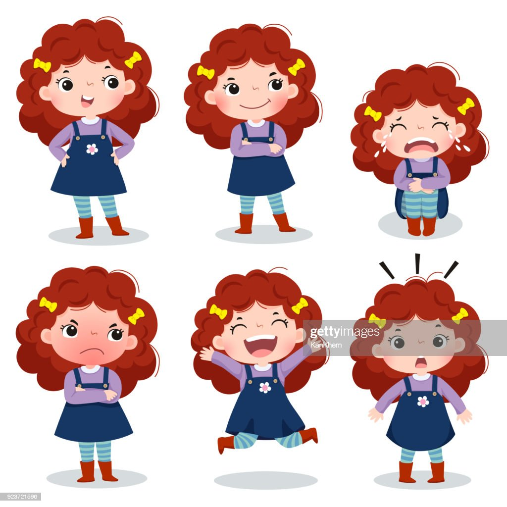 Cute curly red hair girl showing different emotions