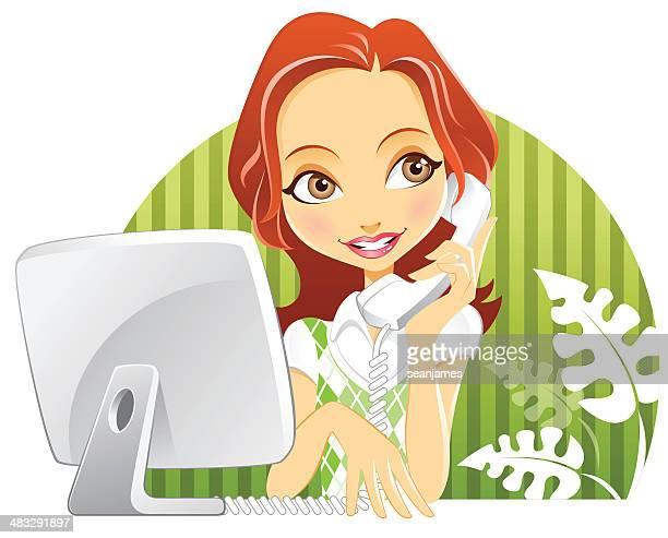 かわいいカスタマーサービス女性、コンピュータモニタ、携帯電話