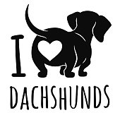 """Cute dachshund dog vector illustration isolated on white, """"I love dachshunds"""" text caption. Simple black silhouette wiener sausage dog, rear view. Funny doxie butt, dog lovers, pets, animal theme."""