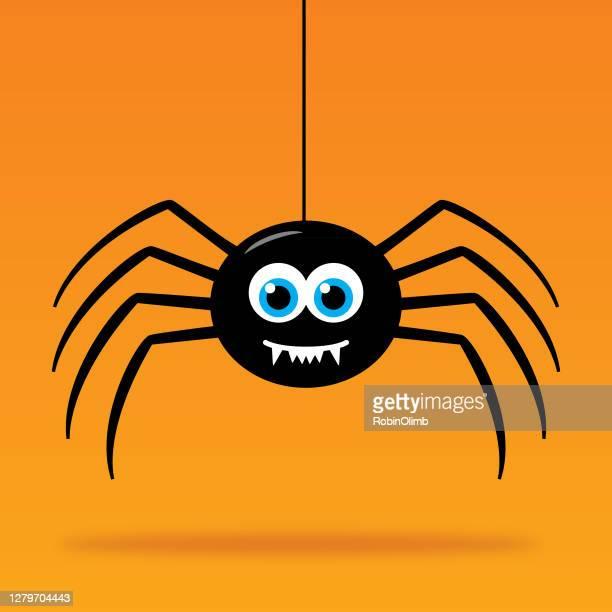 cute dangling cartoon spider - animal body part stock illustrations