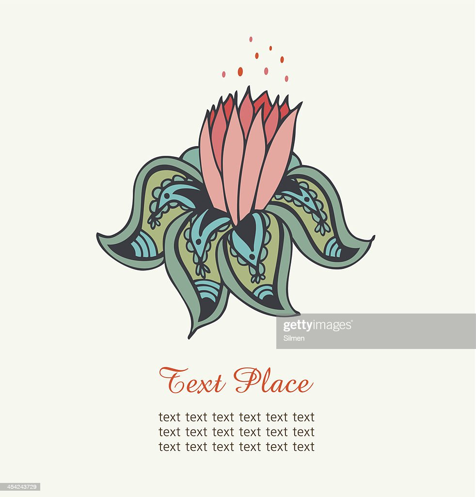 Cute decorative water lily : Vector Art