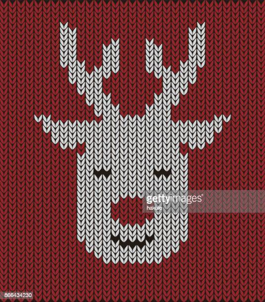 cute deer on the knitting pattern, Happy new year, vector illustration