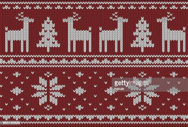 ilustraciones, imágenes clip art, dibujos animados e iconos de stock de lindo ciervo en el patrón que hace punto, feliz año nuevo, ilustración vectorial - new jersey