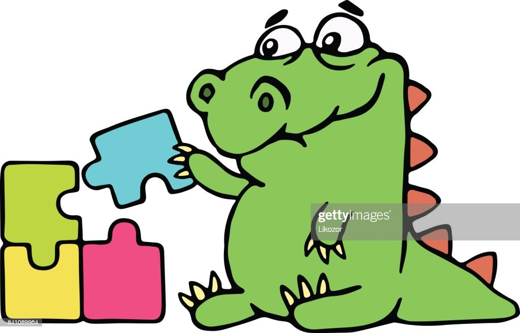 cute dinosaur assemble the puzzles. vector illustration.