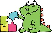 cute dinosaur assemble the puzzles. vector illustration.