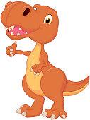 Cute dinosaur cartoon giving thumb up