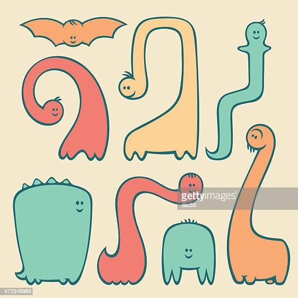 ilustrações, clipart, desenhos animados e ícones de dinossauro bonito conjunto - monstro
