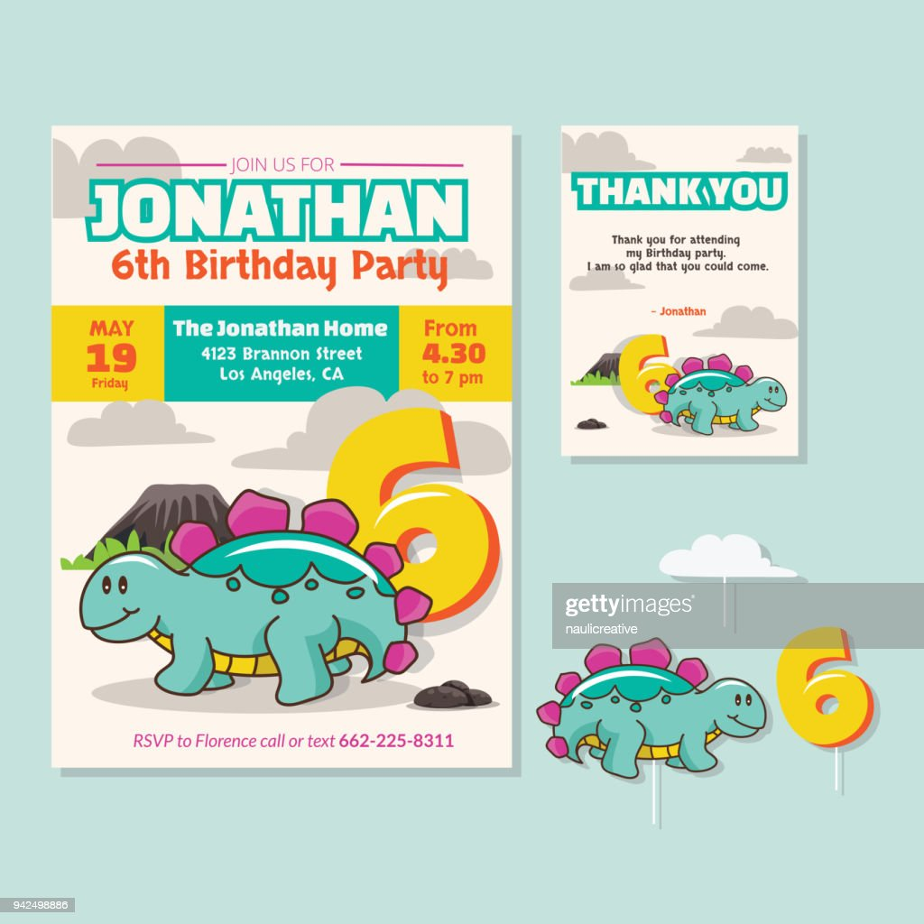 Cute Dinosaur Theme 6th Birthday Party Invitation And Thank You Card Illustration