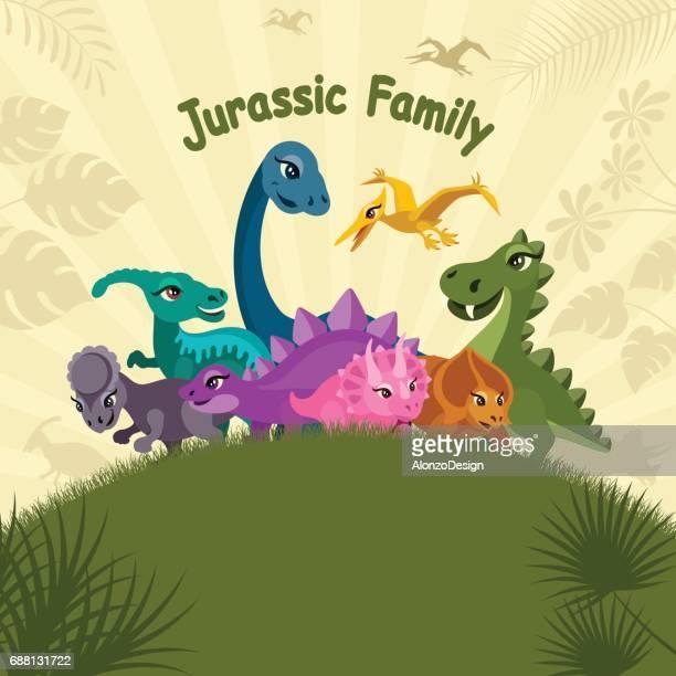 cute dinosaurs - thyreophora stock illustrations, clip art, cartoons, & icons