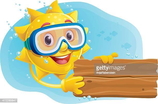 ilustraciones, imágenes clip art, dibujos animados e iconos de stock de osito de peluche de historieta con señal de buceo sol y máscara de submarinismo - sol en la cara