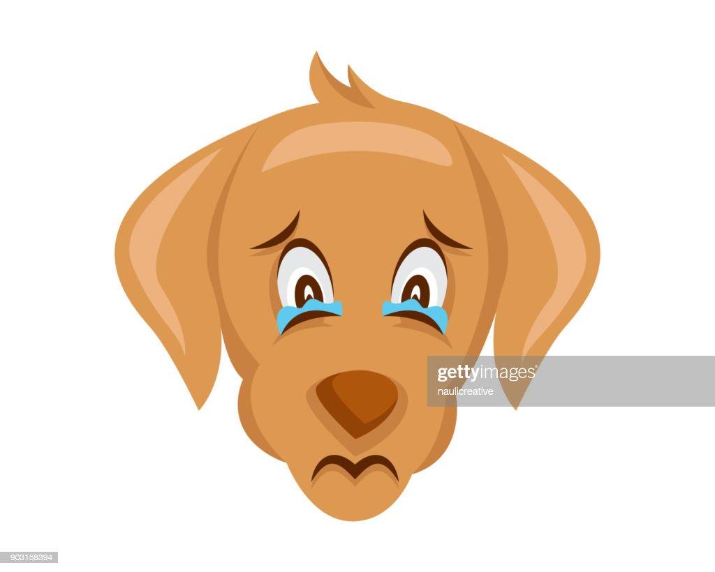 Cute Dog Face Emoticon Emoji Showing Sad Face Expression