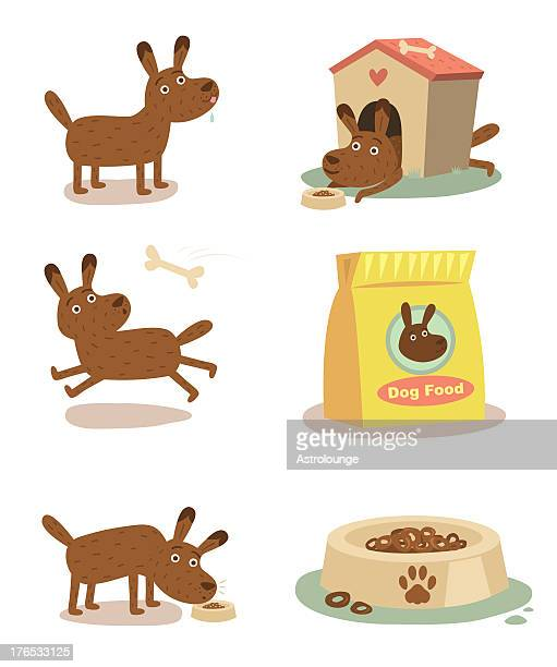 cute dog feeding - dog bowl stock illustrations, clip art, cartoons, & icons