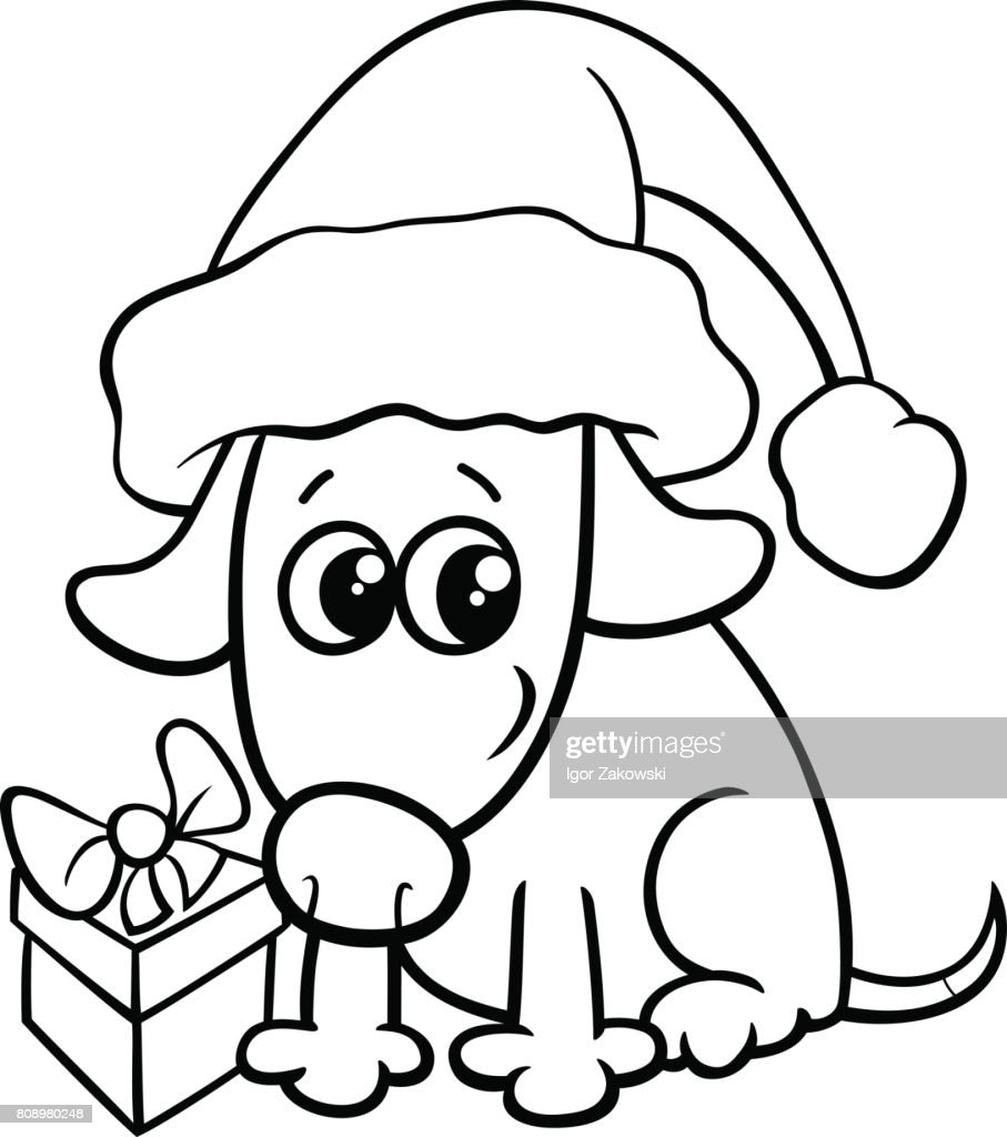 cute dog on christmas coloring book vector art