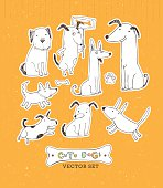Cute Dogs Funny Hand Made Vector Sketch Pet Illustration