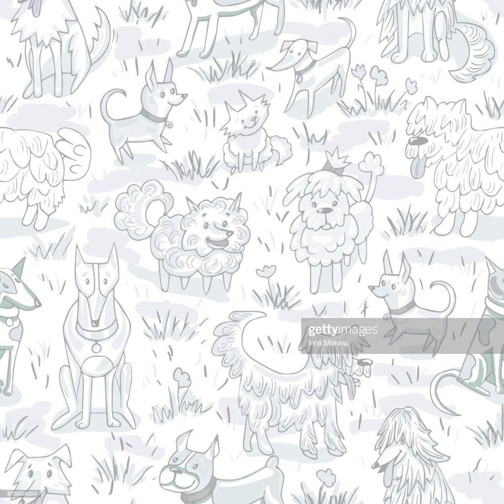Cute dogs pattern. Seamless vector illustration