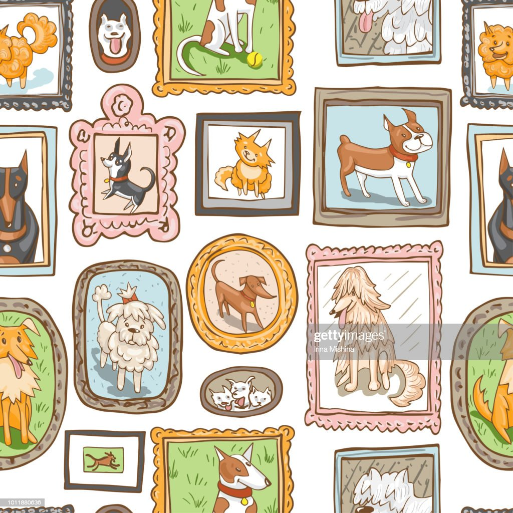 cute dogs retro portraits seamless pattern.
